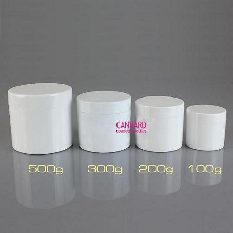 White Round Cosmetic Jar Plastic Cream Empty Face Body Massage