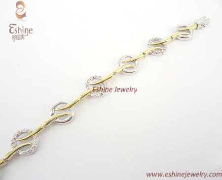 Wholesale 925 Sterling Silver Jewelry Charm Bracelet With Gold Plating And Cz Stones