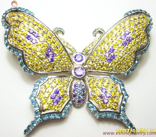 Wholesale Beautiful Butterfly Brass Jewelry Brooch With Colorful Cz Stones
