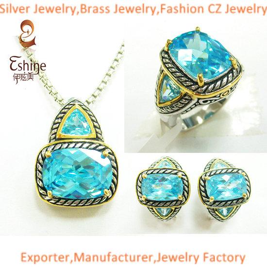 Wholesale Yurman Style Brass Jewelry Designer Inspired Set With Aqua Cz Stones