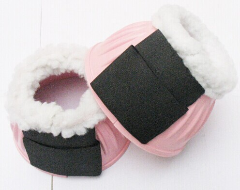 Wholesales Fleece Pink Over Reach Horse Rubber Ribbed Bell Boots