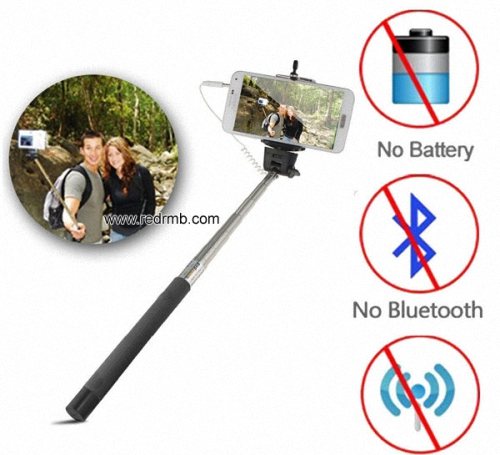 Wired Selfie Stick Handheld Monopod Built In Shutter Extendable Mount Holder For Iphone Samsung Smar