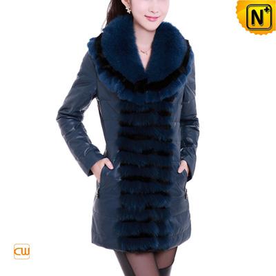 Women Blue Rabbit Fur Sheepskin Leather Down Coat