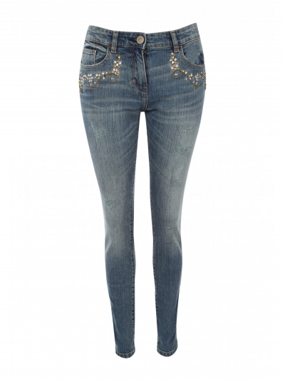 Women Embroidered Patch Jeans