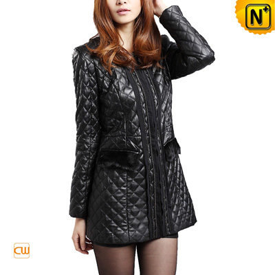 Women S Black Slim Leather Coats Checker Sheepskin