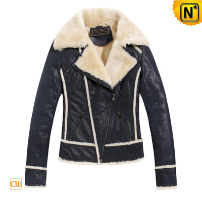 Women S Blue Australian Wool Lined Cowhide Leather Jacket
