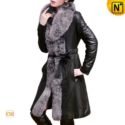 Women S Classic Black Long Fox Fur Sheep Leather Coat