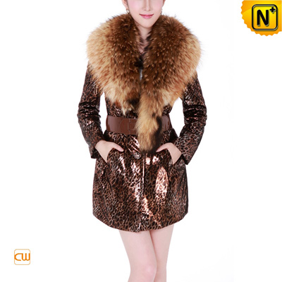 Women S Designer Embossed Sheepskin Leather Coat Raccoon Fur Collar