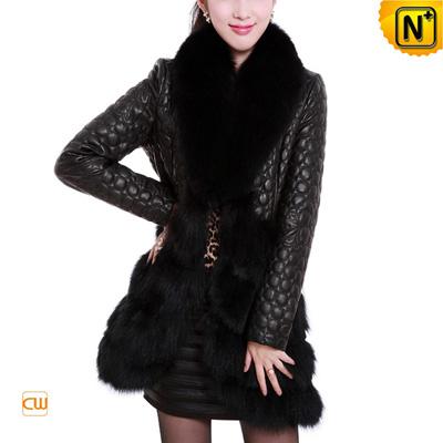 Women S Designer Embroidered Sheepskin Leather Fox Fur Coat
