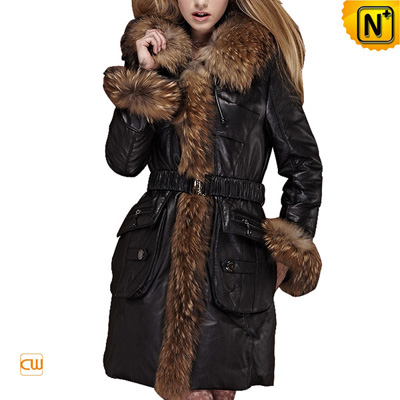 Women S Designer Raccoon Fur Trimmed Leather Down Hooded Coat