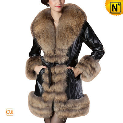 Women S Fashion Raccoon Fur Trimmed Sheepskin Leather Coat