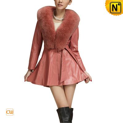 Women S Fashion Slim Sheepskin Leather Coat Fox Fur Collar