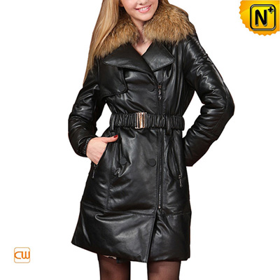 Women S Large Raccoon Fur Long Leather Down Coat