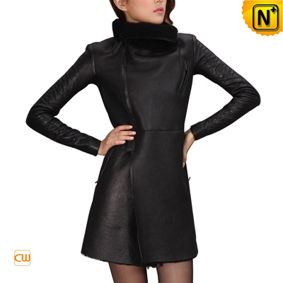 Women S Leather Coat Slim Black Real Lamb Fur Sheepskin