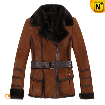 Women S Leather Lamb Fur Lined Coats Real Belt
