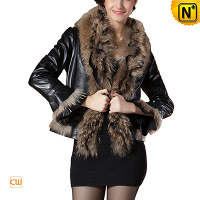Women S Slim Black Real Raccoon Fur Leather Jacket