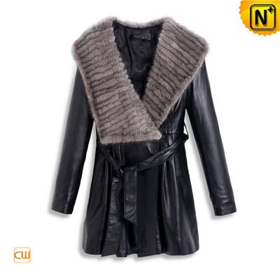 Women S Slim Braided Mink Fur Sheepskin Leather Coat