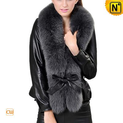 Women S Slim Fox Fur Trimmed Sheepskin Leather Jacket