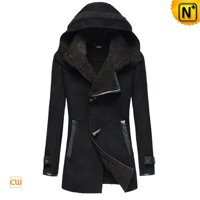 Women S Slim Lamb Fur Lined Leather Hooded Coat