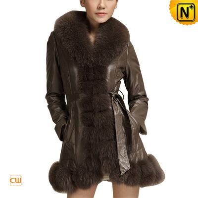 Women S Slim Luxury Fox Fur Leather Coat Lace Up Belt