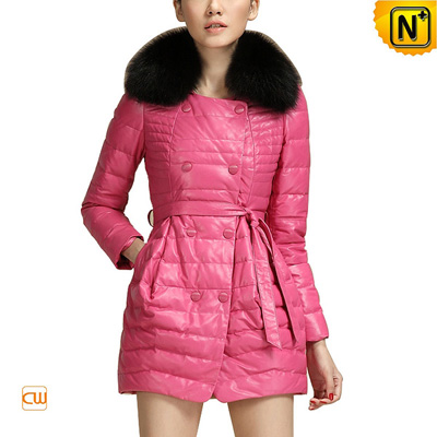 Women S Slim Sheepskin Leather Down Coat Fox Fur Collar