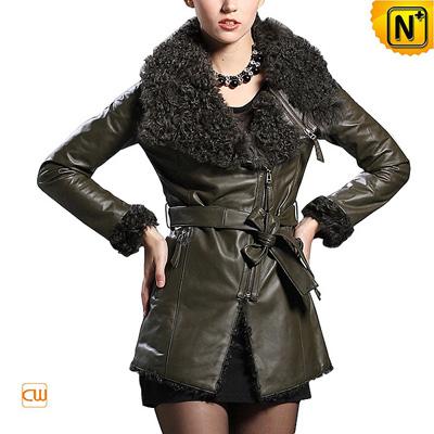 Women S Slim Sheepskin Leather Jacket Curly Lamb Wool Collar