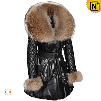 Women S Warm Large Raccoon Fur Leather Down Coat
