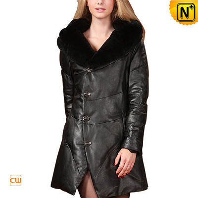 Women S Warm Leather Down Coat Rabbit Fur Hooded