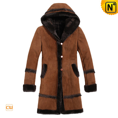 Women S Warm Winter Fur Lined Leather Hooded Coat