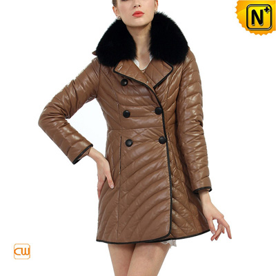 Women S Winter Sheepskin Leather Down Coat Fox Fur Collar