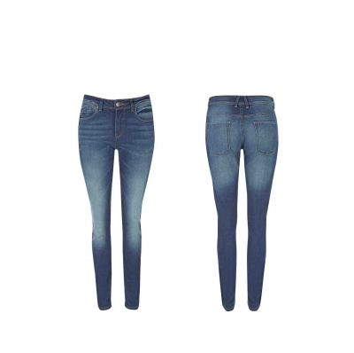 Women Skinny Jeans Mid Blue Dark