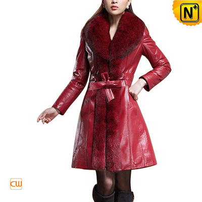 Women Slim Large Fox Fur Trimmed Leather Coat