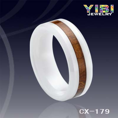 Wood Wedding Band Wholesale Jewelry Natural Inlaid Ceramic Ring