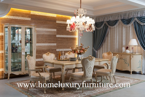 Wooden Dining Table And Chairs Luxury Room Sets Glass Cabinet Buffet Ft101