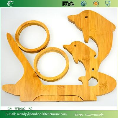 Wr019 Dolphin Shaped Folding Bamboo Wood Wine Rack Holder Single Bottle