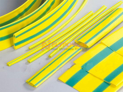 Yellow Green Striped Flexible Flame Retardant Heat Shrinkable Tubing