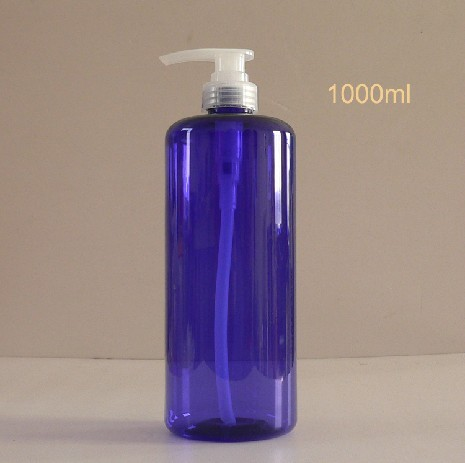 1000ml Semi Blue Bottle With Pump Dispenser Plastic Cap