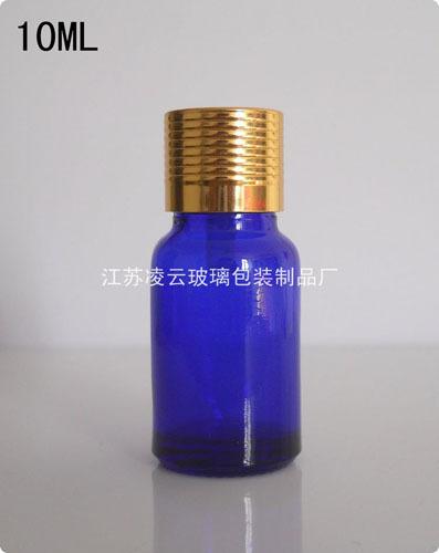 10ml Liquid Blue Glass Bottle Golden Cap