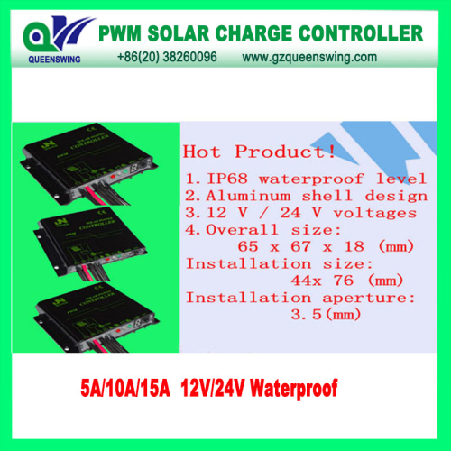 12 24v Waterproof Auto 15a Pwm Solar Charge Controller