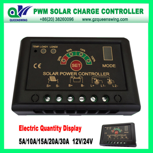 12v 24v 15a Pwm Solar Charge Controller With Led Digital Display