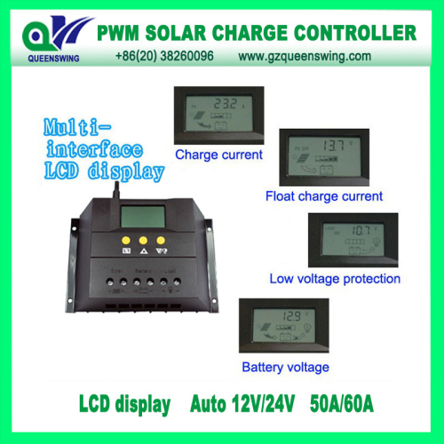 12v 24v 50a Solar Charge Controller With Lcd Display