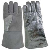 14 Grey Heat Protection Back Cowhide Leather Welding Gloves