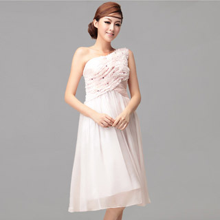 2013 Fashion One Shoulder Ruffle Sleeveless Cocktail Dress