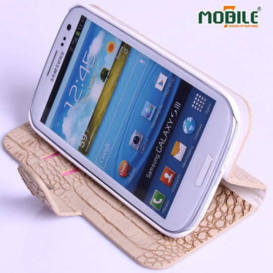 2013 Hot Saling Fake Crocodile Skin Leather Pu Wallet Case For Samsung S3 I