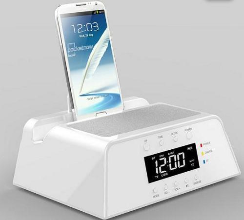 2014 Newest Populor Alarm Clock White Bluetooth Speaker With Led Display Sc