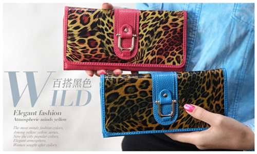 2015 Fashion Leopard Genuine Leather Women Wallets Long Designer Female Pur