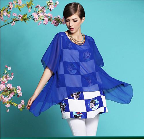 2015 Fashion Plus Size Print Chiffon Women S Summer Dress Faux Two Piece Se