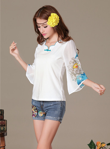2015 New Arrival Women Summer Floral Print Chiffon Tops Flare Sleeve Chines