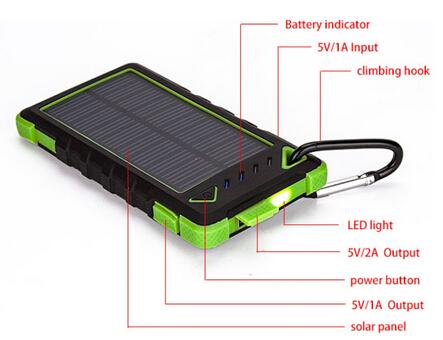 2015 Newest 8000mah Dual Usb Waterproof Dustproof And Shockproof Solar Powe