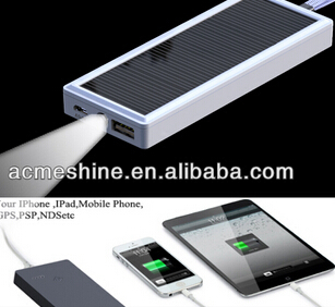 2500mah Solar Power Bank Charger For Mobile With White Flashlight Esc 08